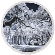 Old Sheldon Church In Infrared Round Beach Towel