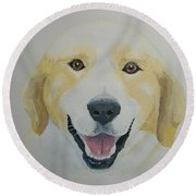 Round Beach Towel featuring the painting Old Shep by Norm Starks