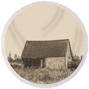 Old Shingled Farm Shack Round Beach Towel by Edward Fielding