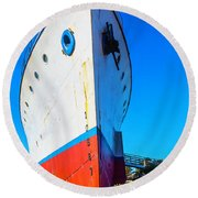 Old Ship Bow Round Beach Towel