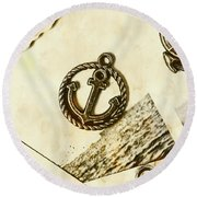 Old Shipping Emblem Round Beach Towel