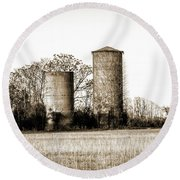 Old Silos Round Beach Towel