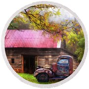Round Beach Towel featuring the photograph Old Smoky Truck And Barn by Debra and Dave Vanderlaan