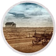 Round Beach Towel featuring the photograph Old South Dakota Town by Sharon Seaward