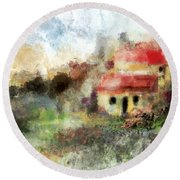 Old Spanish Village Round Beach Towel