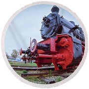 Old Steam Locomotive Close Up Round Beach Towel