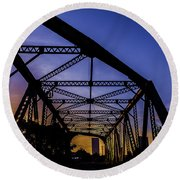 Old Steel Bridge Round Beach Towel