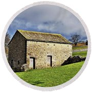 Old Stone Barns Round Beach Towel