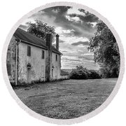 Old Stone House Black And White Round Beach Towel