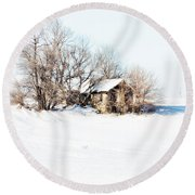 Round Beach Towel featuring the photograph Old  Stone House Milford by Julie Hamilton