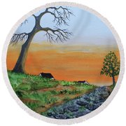 Round Beach Towel featuring the painting Old Stone Trail by Jack G Brauer
