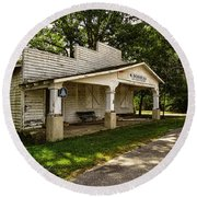 Round Beach Towel featuring the photograph Old Store In Dewitt Virginia by Melissa Messick