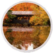 Round Beach Towel featuring the photograph Old Sturbridge Village Covered Bridge by Jeff Folger