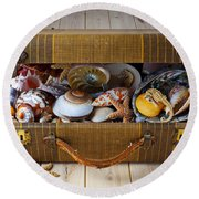 Old Suitcase Full Of Sea Shells Round Beach Towel