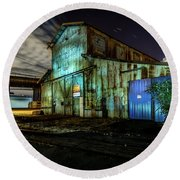 Old Tacoma Industrial Building Light Painted Round Beach Towel by Rob Green