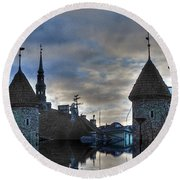 Round Beach Towel featuring the mixed media  Old Tallin Sureal by Yury Bashkin
