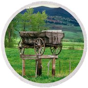 Old Time Freight Wagon In Montana Round Beach Towel by Wernher Krutein