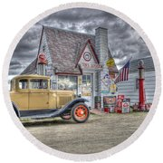 Old Time Gas Station Round Beach Towel