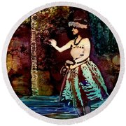 Round Beach Towel featuring the painting Old Time Hula Dancer by Marionette Taboniar