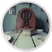 Round Beach Towel featuring the photograph Old Time Kitchen Table by Edward Fielding