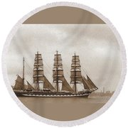 Old Time Schooner Round Beach Towel