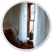 Old Time Window Round Beach Towel