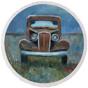 Old Timer Round Beach Towel by Billie Colson