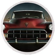 Old-timer Cadillac Convertible Round Beach Towel