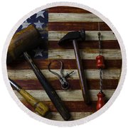 Old Tools On Wooden Flag Round Beach Towel