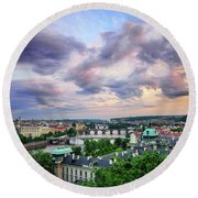 Old Town And Charles Bridge, Prague, Czech Republic Round Beach Towel