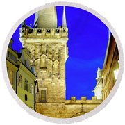 Round Beach Towel featuring the photograph Old Town Bridge Tower by Fabrizio Troiani