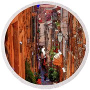 Old Town Dubrovniks Inner Passages Round Beach Towel
