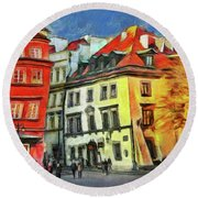 Old Town In Warsaw # 27 Round Beach Towel