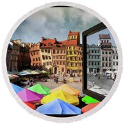 Old Town In Warsaw #13a Round Beach Towel
