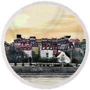 Old Town In Warsaw #16 Round Beach Towel