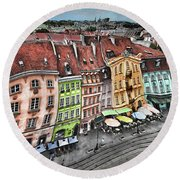 Old Town In Warsaw #20 Round Beach Towel