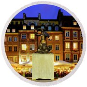 Round Beach Towel featuring the photograph Old Town Market Place by Fabrizio Troiani