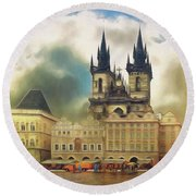Old Town Square Prague In The Rain Round Beach Towel