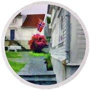 Old Town Stavanger - Painterly Round Beach Towel