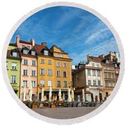 Round Beach Towel featuring the photograph Old Town Warsaw by Chevy Fleet
