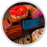 Old Toy Truck And Donuts Round Beach Towel by Garry Gay