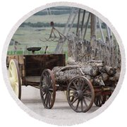 Old Tractor And Wagon In Foreground Cove Creek Fort Photography By Colleen Round Beach Towel