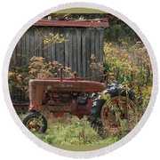 Old Tractor On The Farm. Round Beach Towel