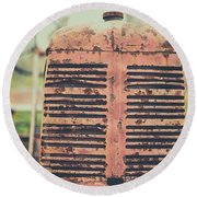 Old Tractor Vintage Look Round Beach Towel by Edward Fielding