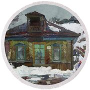 Old Trading House Round Beach Towel