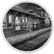 Old Train Station With Crossing Sign In Black And White Round Beach Towel