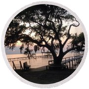 Old Tree At The Dock Round Beach Towel