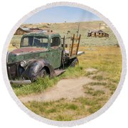 Old Truck At The Ghost Town Of Bodie California Dsc4404 Round Beach Towel