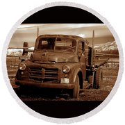 Round Beach Towel featuring the photograph Old Truck by Norman Hall