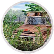 Old Truck Rusting Round Beach Towel